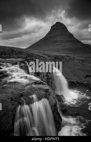 Iceland. Black and white image of Icelandic landscape and waterfall. - Stock Photo