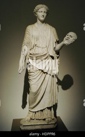 Female deity (kore of Eleusus type), restored as a Muse. Late 2nd century copy of a Greek original of the second - Stock Photo
