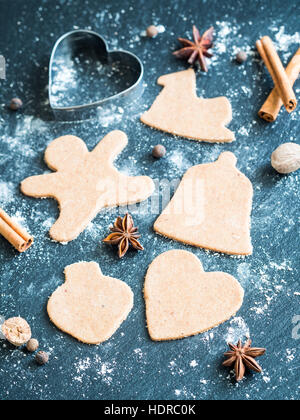 Preparation of Christmas gingerbread cookies. - Stock Photo