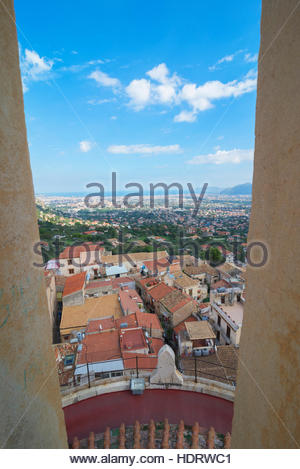 Monreale view from Monreale Cathedral, Monreale, Sicily, Italy - Stock Photo