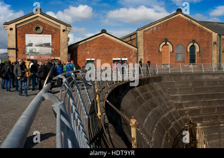 Former thompsons dry graving dock where the Titanic was built in titanic quarter queens island, Belfast Northern - Stock Photo