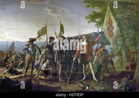 CHRISTOPHER COLUMBUS (c 1451-1506) Painting by John Vanderlyn in 1847 entitled 'Landing of Columbus - 12 October - Stock Photo