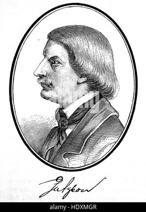 Karl Ferdinand Gutzkow, 1811-1878, a German writer, woodcut from the year 1882, digital improved - Stock Photo