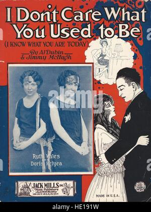 'I Don't Care What You Used to Be' 1925 Sheet Music Cover - Stock Photo