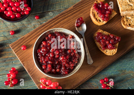 Homemade Organic Red Currant Jam Ready to Eat - Stock Photo