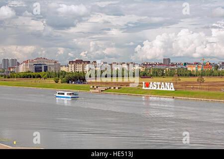 Ishim river, downtown of Astana city, Kazakhstan. - Stock Photo