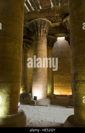 Columns in the inner Hypostyle hall, Temple of Horus, Edfu, Luxor, Nile Valley, Egypt, Africa - Stock Photo