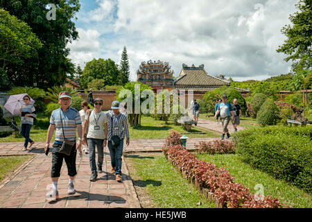 Garden at the Hung To Mieu Temple. Imperial City (The Citadel), Hue, Vietnam. - Stock Photo