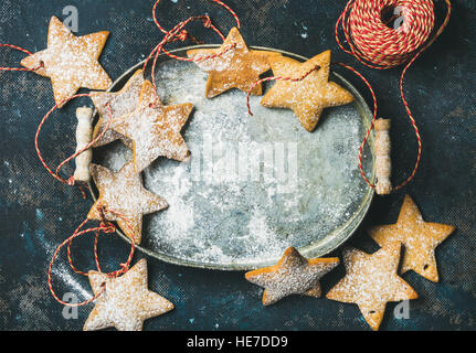 Christmas holiday star shaped gingerbread cookies for tree decoration - Stock Photo