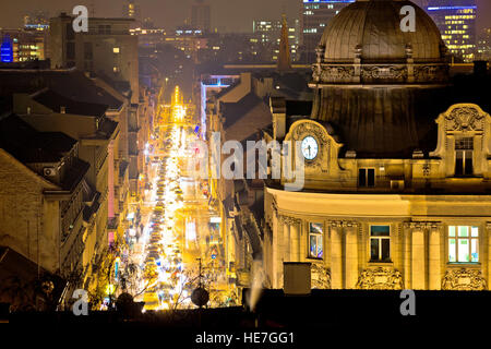 Zagreb street and architecture evening view, capital of Croatia - Stock Photo