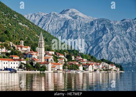 perast traditional balkan village mountain landscape by kotor bay in montenegro - Stock Photo