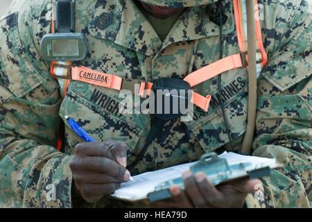 U.S. Marine Gunnery Sgt. Jaren Wright assigned to Tactical Training Exercise Control Group, Twentynine Palms, Calif., - Stock Photo