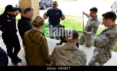 U.S. and Italian task force members discuss safety measures to keep their dogs healthy, March 21, 2016, at Aviano - Stock Photo