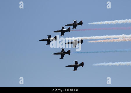 Members of the Patriots Jet Team fly in formation over the flight line at March Air Reserve Base during the 2016 - Stock Photo