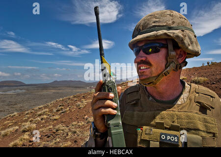 U.S. Marines Corps Capt. Rob 'Big Nasty' Gambrell a Joint Terminal Attack Controller from 1st Battalion, 3rd Marine - Stock Photo
