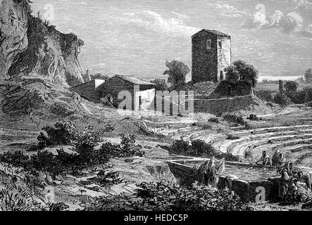 Ruins of the Greek Theater in Syracuse, is a historic city in Sicily, Italy, from a woodcut of 1880, digital improved - Stock Photo