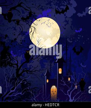 grunge blue background on halloween, with the full moon, night sky, with dried branches of trees, an old castle, - Stock Photo