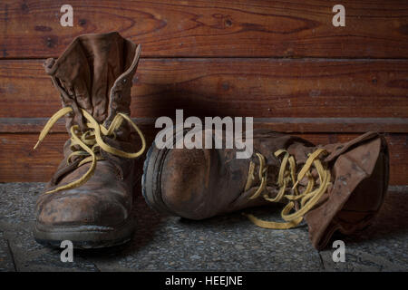 Old Work Boots. - Stock Photo