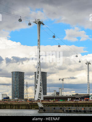 One of the pylons of the Emirates Air Line (cable car, cablecar) across the River Thames in London. - Stock Photo