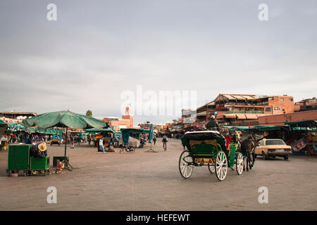 MARRAKESH, MOROCCO - DECEMBER 2016: People on the very busy main square of Marrakesh in Morocco called Jeema el - Stock Photo