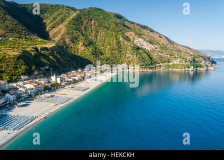 The beach of Scilla (Calabria, southern Italy) during the summer - Stock Photo
