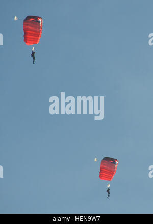 French paratroopers conduct a high altitude, low opening jump over the Alzey Drop Zone near Kaiserslautern Dec. - Stock Photo