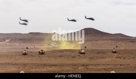 UH-60 Black Hawks flown by Company A, 3rd Battalion, 238th General Support Aviation Battalion, 42nd Combat Aviation - Stock Photo