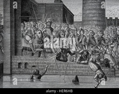 Henry IV of France (1553-1610). Entrance of Henry Iv in Paris, 22 March 1594, with 1500 cuirassiers. Engraving by - Stock Photo