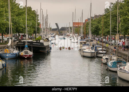 paddlers in the middle of the canal, Christianhavn, Copenhagen, Denmark - Stock Photo