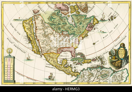 America borealis. Map of North America showing California as an island. From Heinrich Scherer's Geographia hierarchica, - Stock Photo