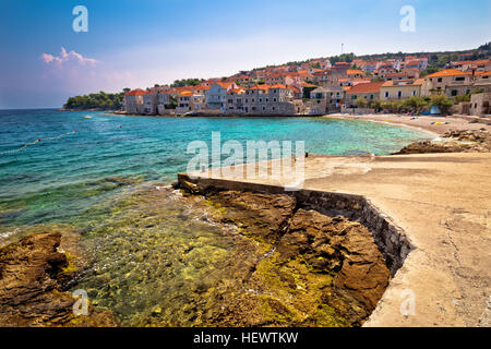 Village of Postira on Brac island, Dalmatia, Croatia - Stock Photo