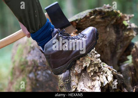 Cropped view of lumberjack's foot raised on tree stump - Stock Photo