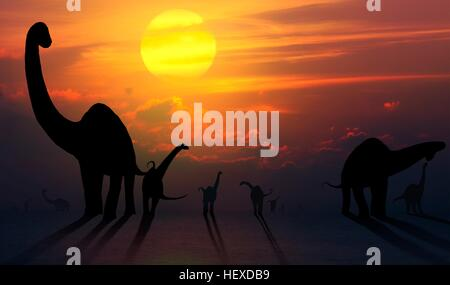 Artwork of a herd of sauropod dinosaurs seen against a sunset (or sunrise). Sauropods, which were universally herbivorous, - Stock Photo