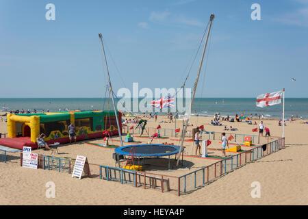 Children's play area on Margate Beach, Margate, Kent, England, United Kingdom - Stock Photo