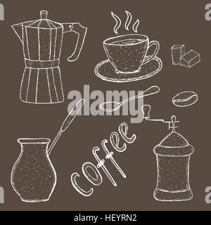 Collection of coffee sketch tool, hand drawing, vintage style. vector illustration; - Stock Photo