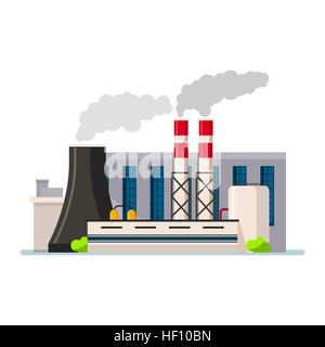 Factory building icon vector flat style. Manufacturing buildings. - Stock Photo