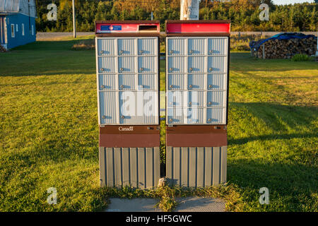 Canada Post Rural Group Mailboxes In Gaspe Peninsula, Sainte-Anne des Monts - Stock Photo