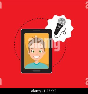 man cartoon smartphone microphone red background vector illustration eps 10 - Stock Photo