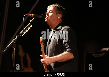 Jean Jacques Burnel of the Stranglers Weyfest Rural Life Centre Tilford Surrey stage guitar - Stock Photo