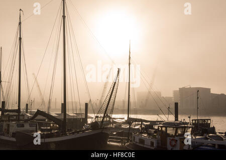 London, UK 28th December 2016. A foggy morning at Hermitage Moorings on the river Thames makes for magical light - Stock Photo
