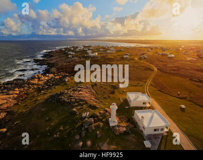 View of Cabo Polonio at sunset, Rocha Department, Uruguay - Stock Photo
