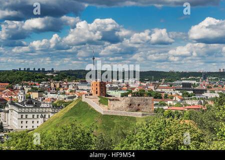 View over Vilnius to the Gediminas Tower, Vilnius, Lithuania, Baltic States, Europe - Stock Photo