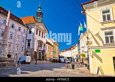 Ljubljana central square city hall and old architecture view, capital of Slovenia - Stock Photo