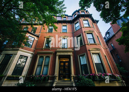 Historic brick buildings in Back Bay, Boston, Massachusetts. - Stock Photo