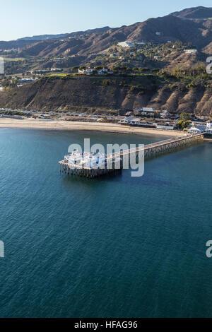 Aerial of historic Malibu pier near Los Angeles in Southern California. - Stock Photo