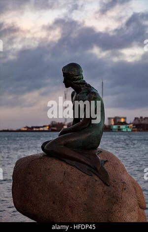 The famous little mermaid statue in Copenhagen, Denmark. - Stock Photo