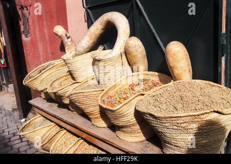 Morocco Spices Marrakesh Souk Bazaar - Stock Photo