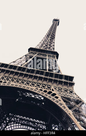 Detailed diagonal close-up of the Eiffel tower in Paris, France - Stock Photo
