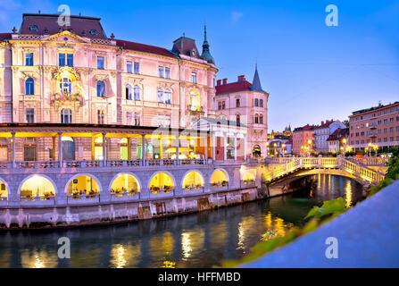 Ljubljana riverfront architecture evening view, capital of Slovenia - Stock Photo