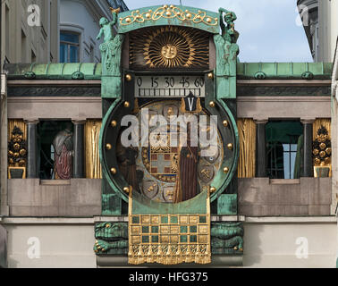 Ankeruhr Clock, large music box, art nouveau, painter, artist, designed by Franz Matsch, inaugurated in 1915, High - Stock Photo
